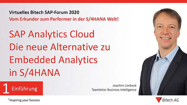 Webinar » SAP Analytics Cloud die neue Alternative zu Embedded Analytics in S/4HANA